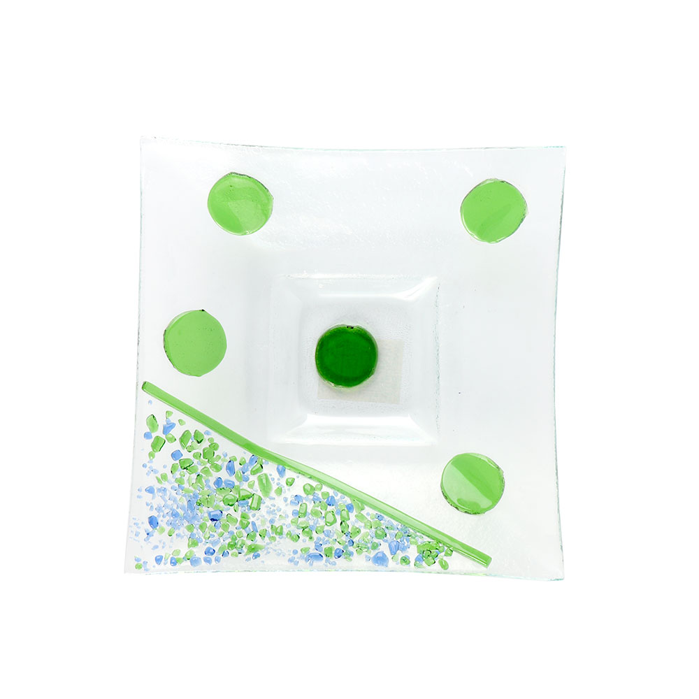 A Square Glass Plate With Green Color Circles Size 18 cm متجر 15 وأقل