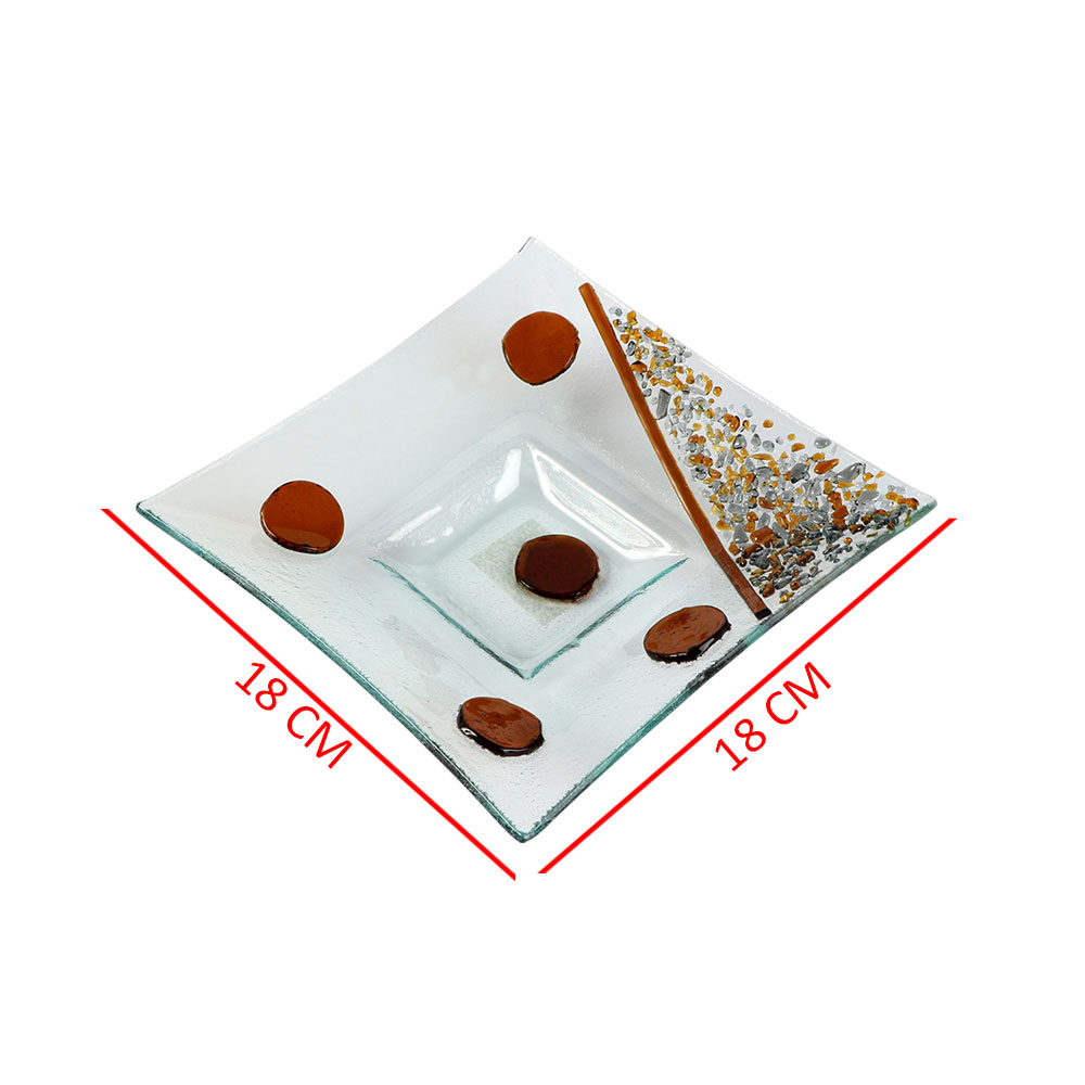 صحن زجاج مربع بدوائر بالوان البني مقاس 18 سم متجر 15 وأقل
