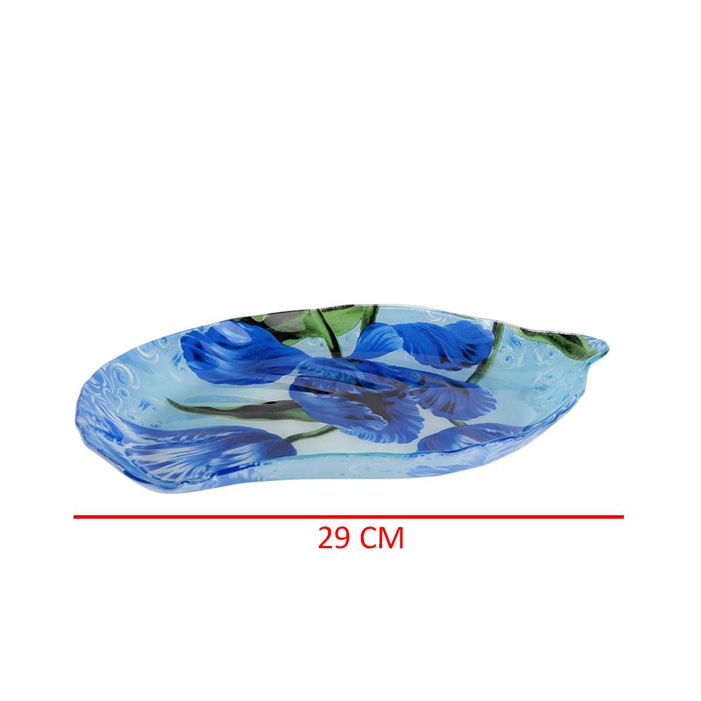 صحن زجاج على شكل ورقة شجر بالوان الأزرق مشجر متجر 15 وأقل