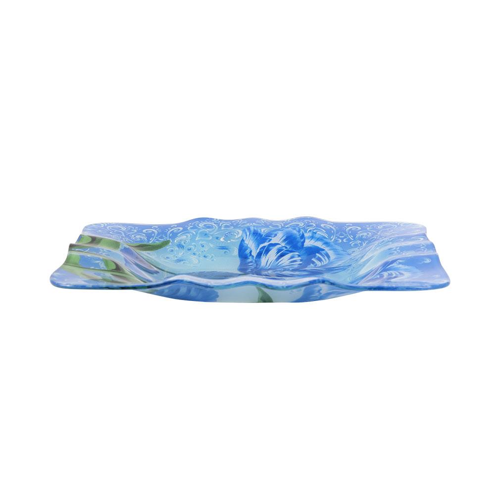 صحن زجاج على شكل مربع بالوان الأزرق مشجر مقاس 24 سم متجر 15 وأقل