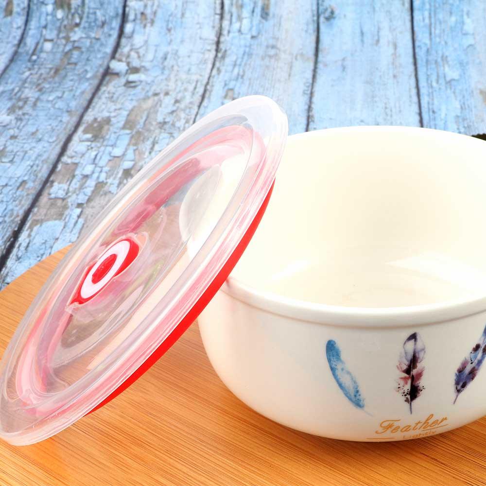 Ceramic Bowl With Cover 1 Piece Color White متجر 15 وأقل