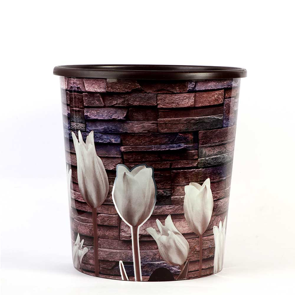 Round Trash Bin Size 24 x 23 cm Color Brown With Tulip Flowers متجر 15 وأقل
