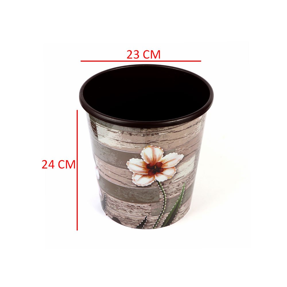 Round Trash Bin Size 24 x 23 cm Color Brown With Flowers متجر 15 وأقل