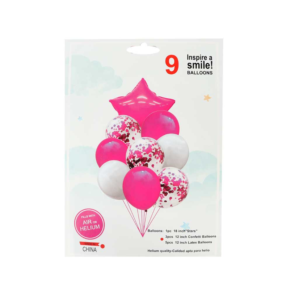 Balloons Set Contain Plain with Star Balloon In White And Pink Color 9pcs متجر 15 وأقل