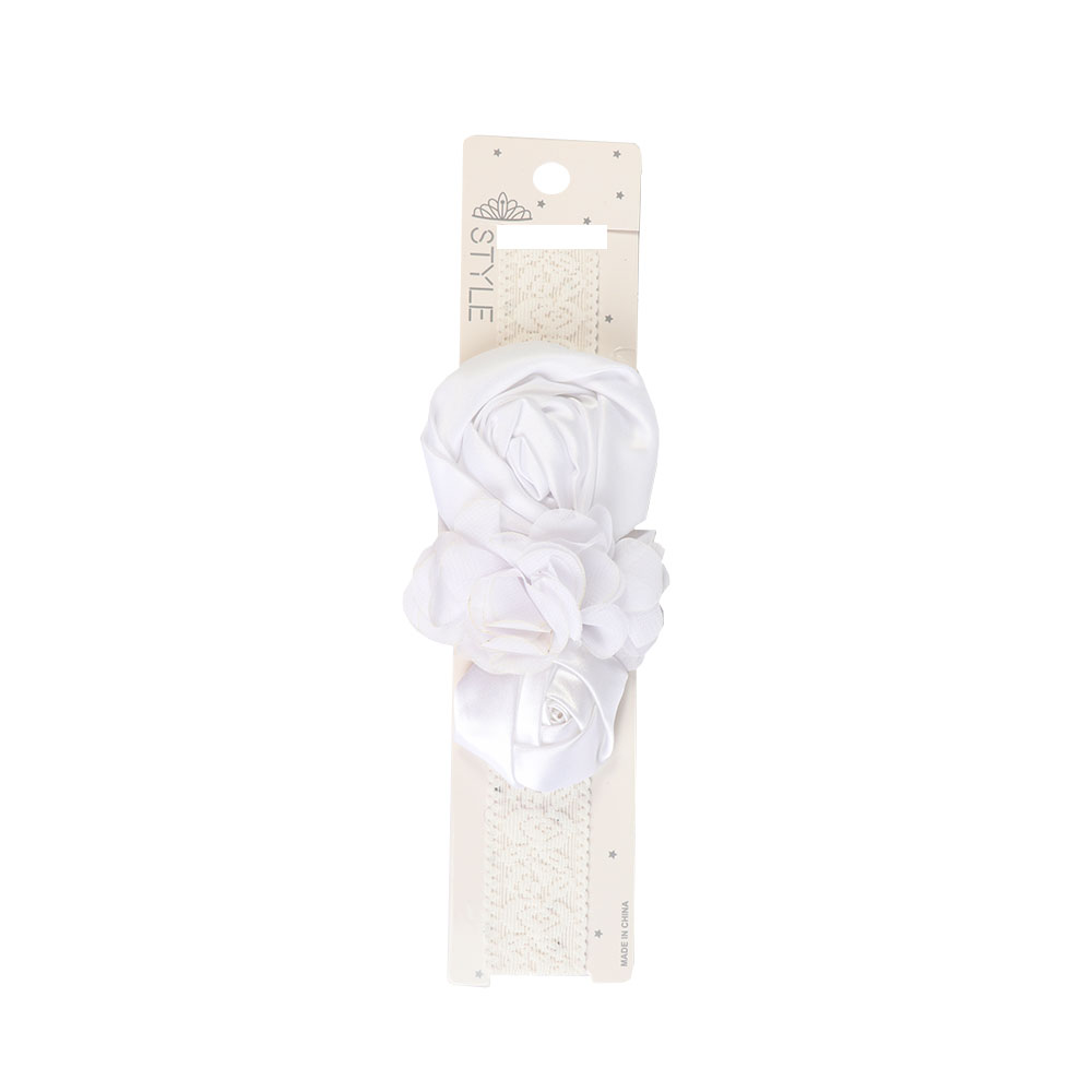 ربطة راس بناتي مزين بورود ساتان لون أبيض متجر 15 وأقل
