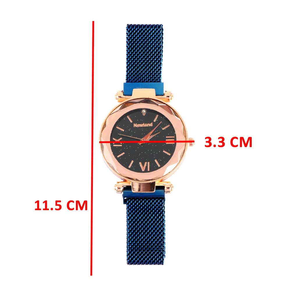An elegant wrist watch with a magnetic iron bracelet blue color متجر 15 وأقل