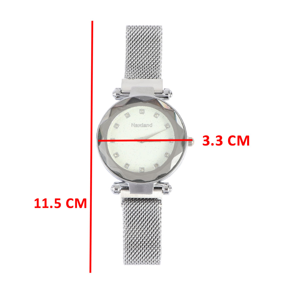 An elegant wrist watch with a magnetic iron bracelet Silver color متجر 15 وأقل