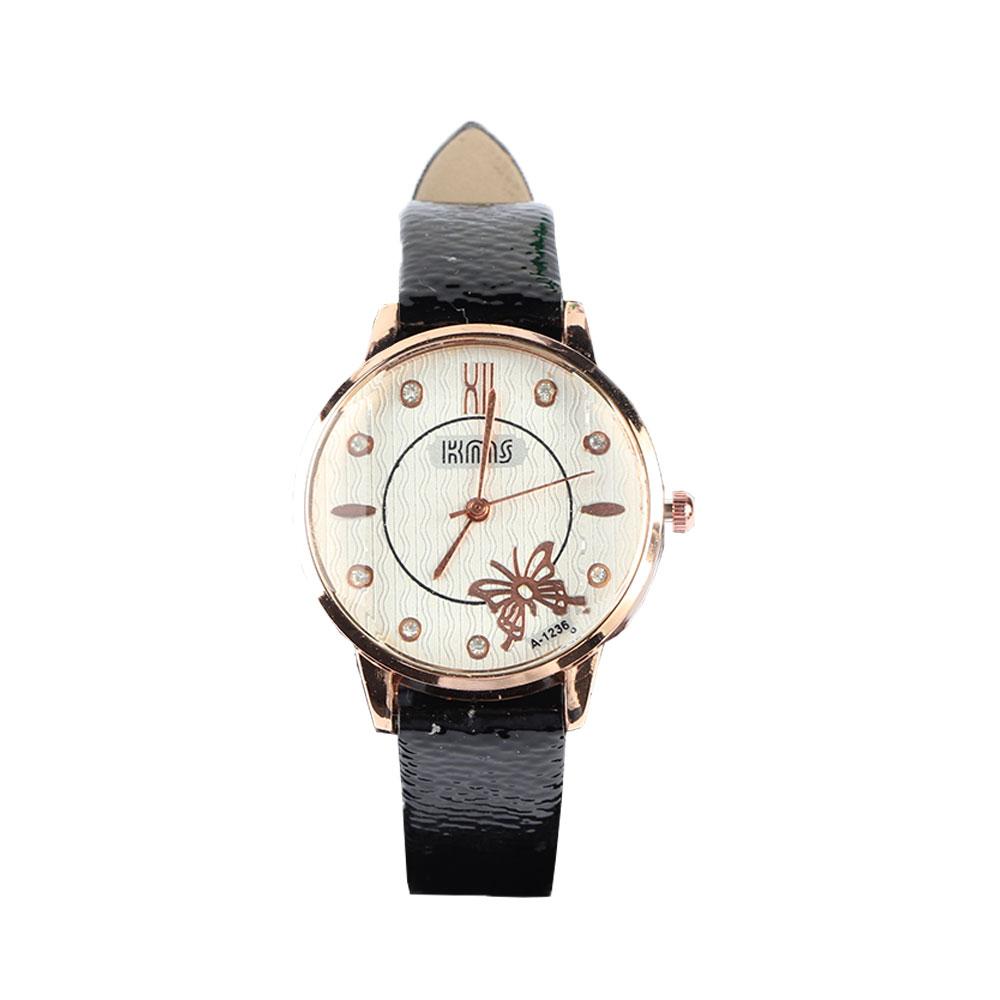 ساعة يد بعقارب وسوار جلدي لون اسود مميزة وانيقة بطابع عصري متجر 15 وأقل