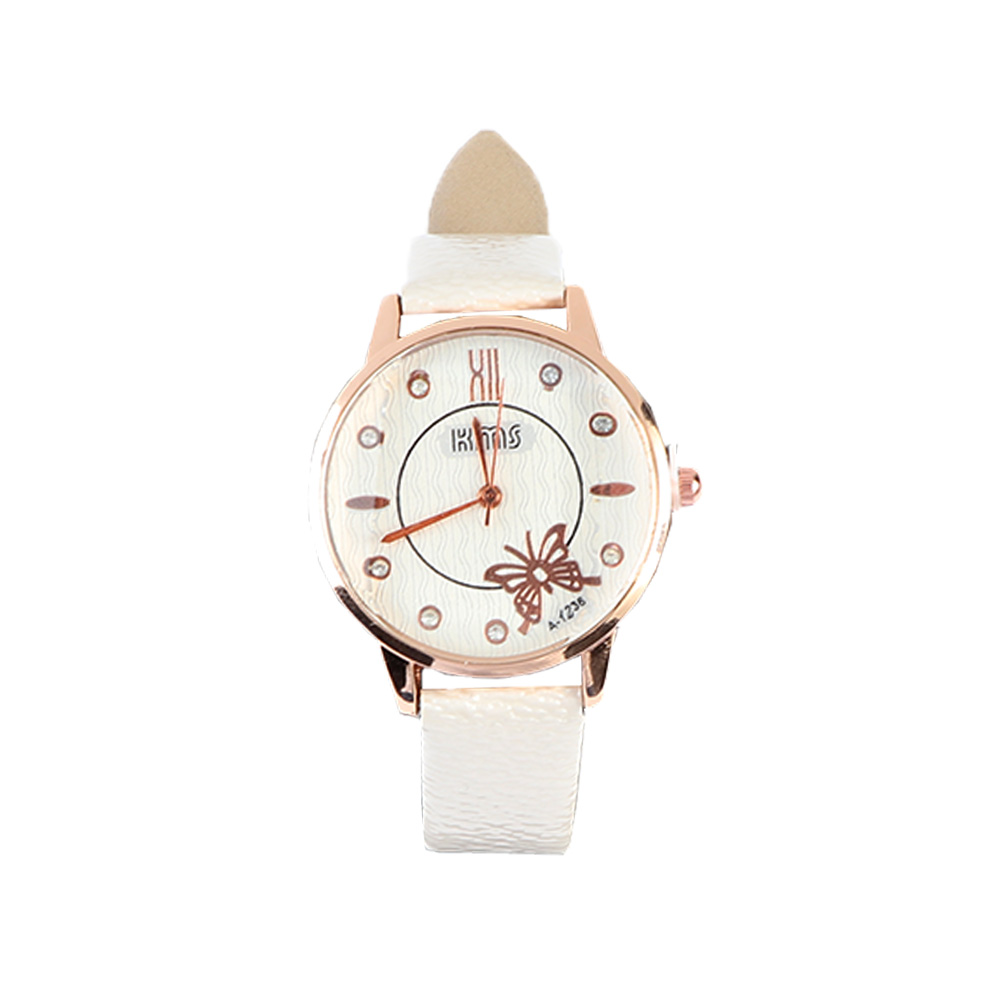 A distinctive and elegant Color Off White leather watch with a modern design متجر 15 وأقل