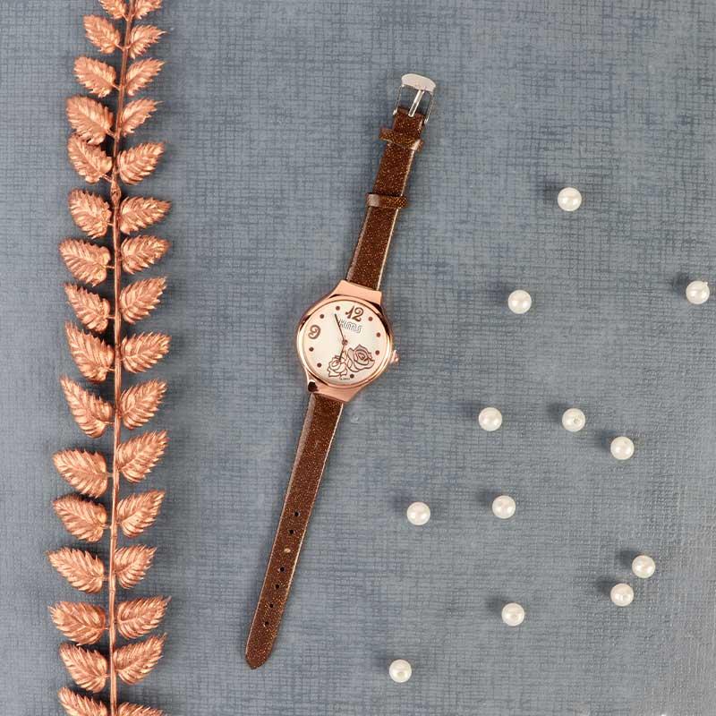 ساعة يد بعقارب وسوار جلدي لون بني لامع انيقة ومميزة بطابع عصري متجر 15 وأقل