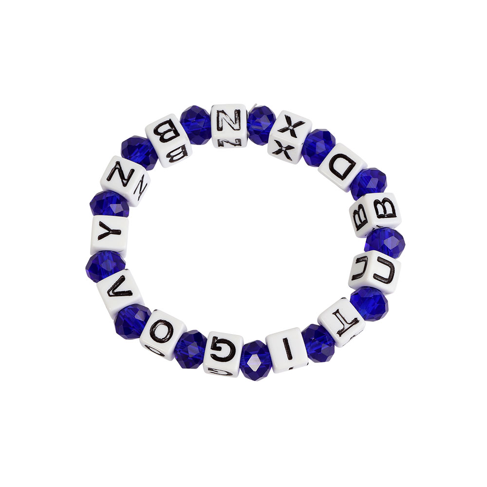 Plastic Wrist Band In White With Blue Beads Color متجر 15 وأقل