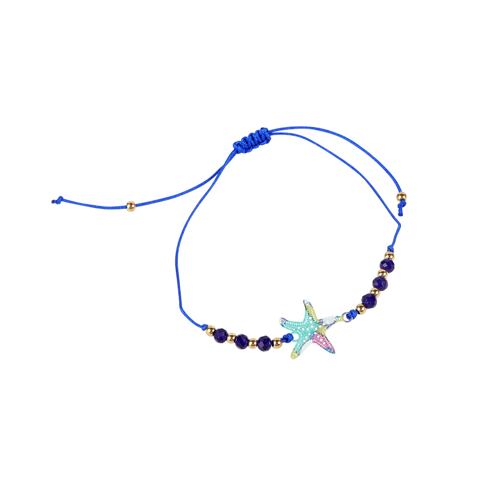 Fabric Bracelets Decorated With Starfish Color Navy متجر 15 وأقل