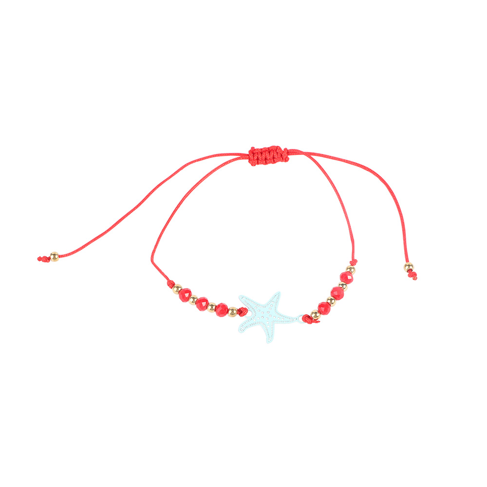 Fabric Bracelets Decorated With Starfish Color Red متجر 15 وأقل