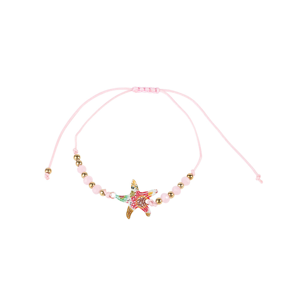 Fabric Bracelets Decorated With Starfish Color Pink متجر 15 وأقل