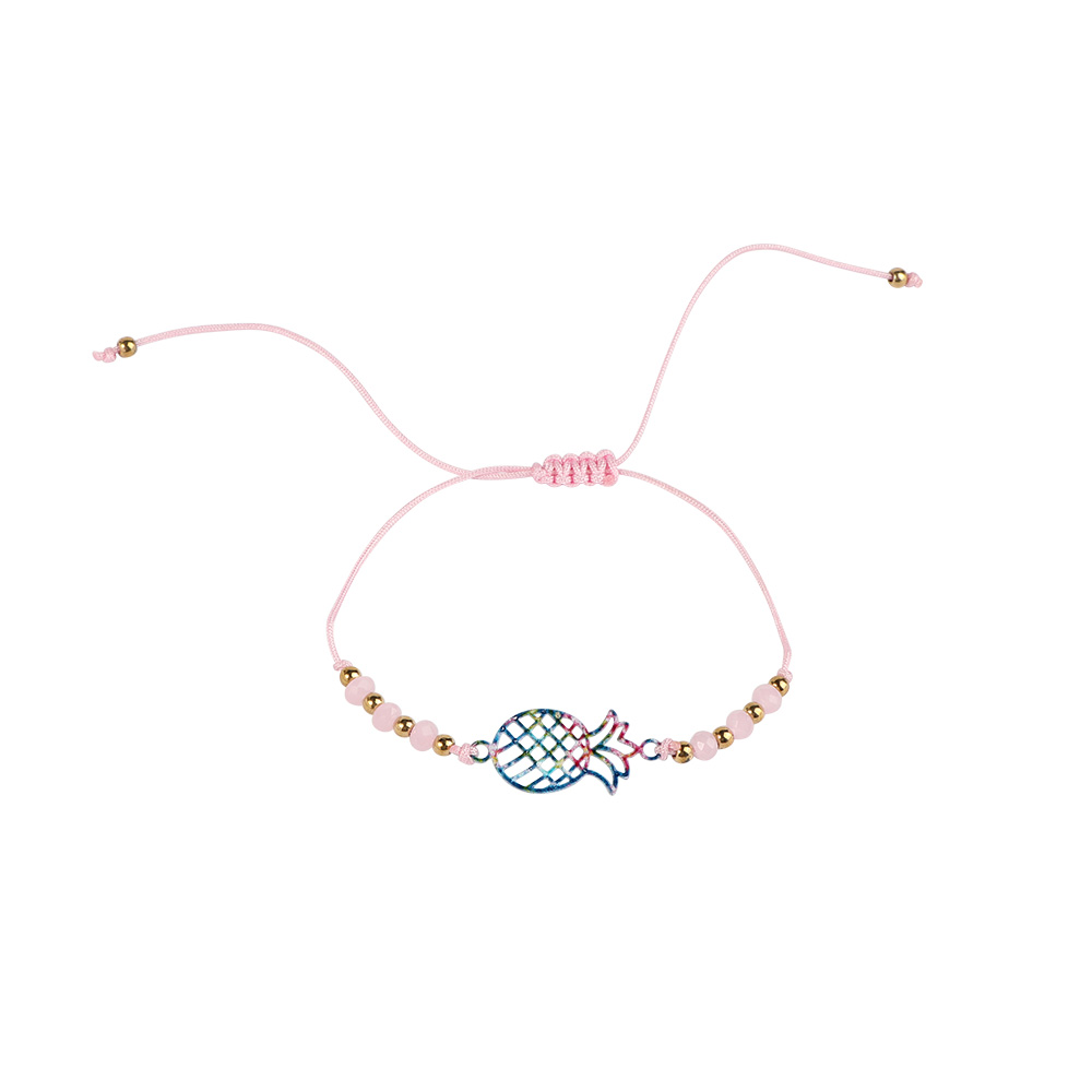 Fabric Bracelets Decorated With Pineapple Fruit Color Pink متجر 15 وأقل