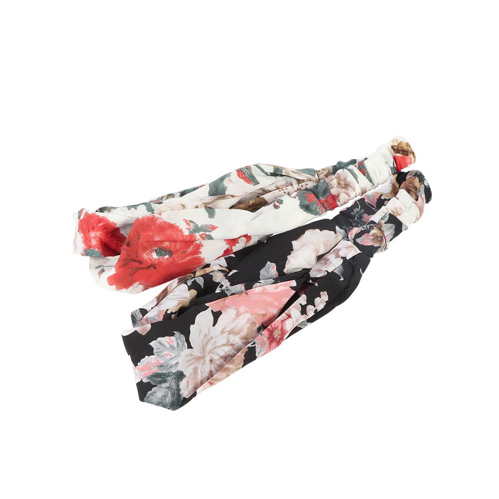 ربطة راس بطباعة زهور قطعتين بخلفية لون أسود و أبيض متجر 15 وأقل
