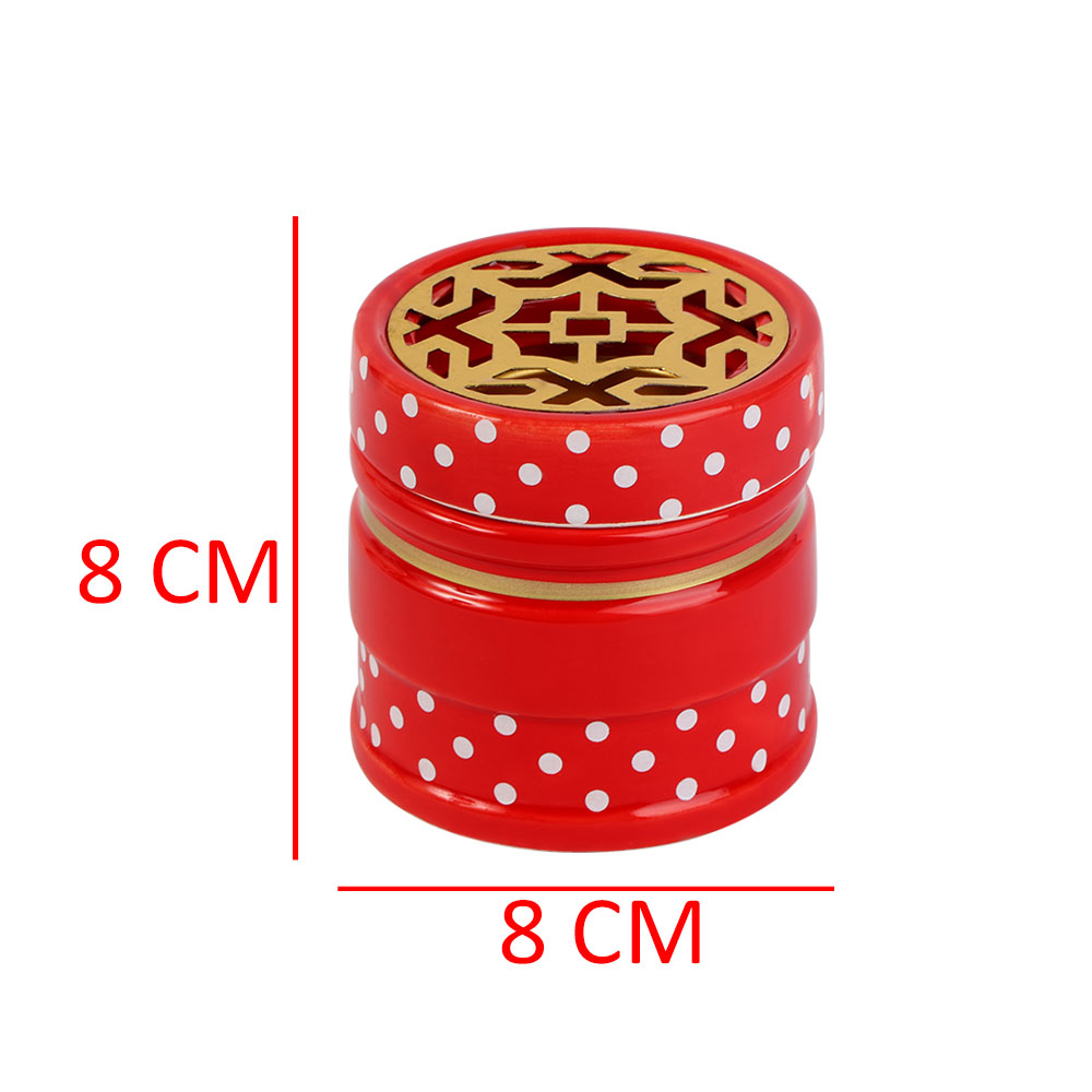 Ceramic Incense Burner In Red Color With White Dots In Golden Color متجر 15 وأقل