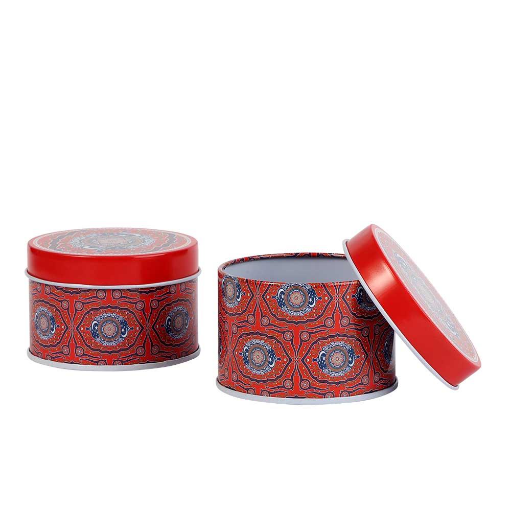 علبة هدايا رمضان معدنية شكل دائري مقاس 7.8 بلون احمر موديل 1 - قطعة متجر 15 وأقل
