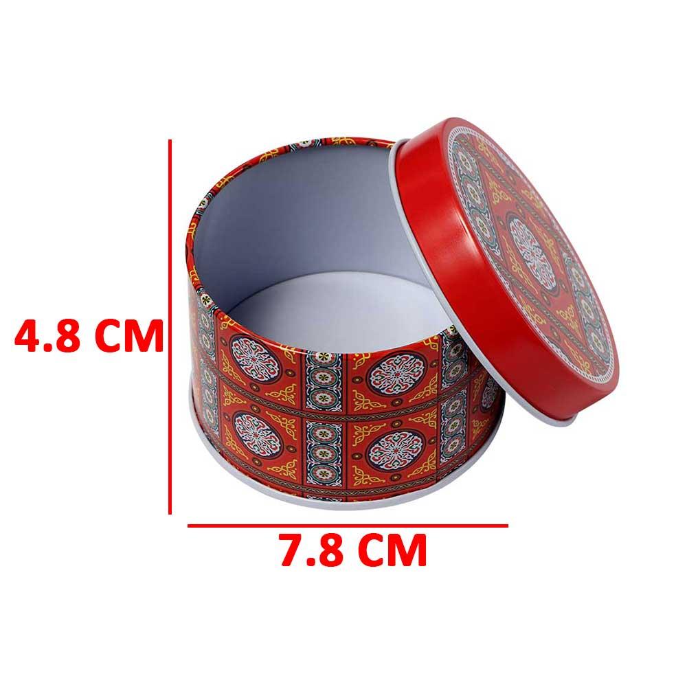 علبة هدايا رمضان معدنية شكل دائري مقاس 7.8 بلون احمر موديل 2 - قطعة متجر 15 وأقل