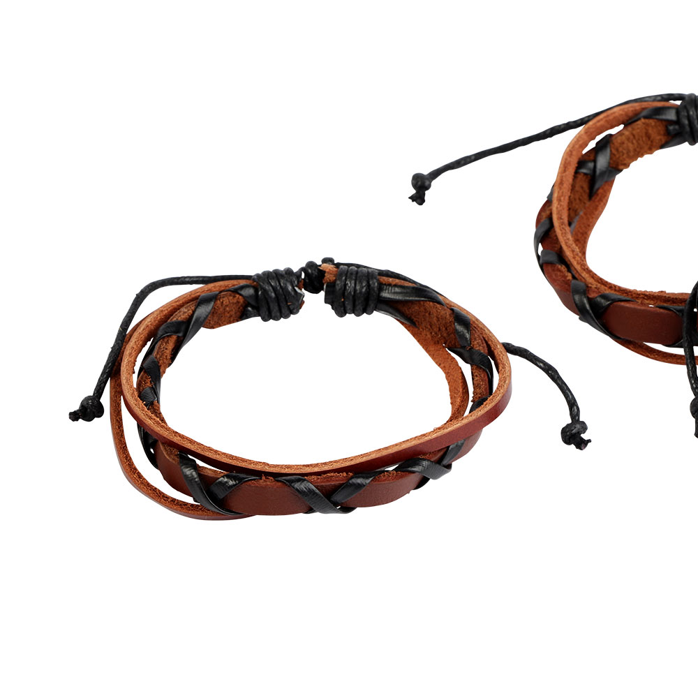 Leather Braid Wrist Band In Black With Light Brown Color متجر 15 وأقل