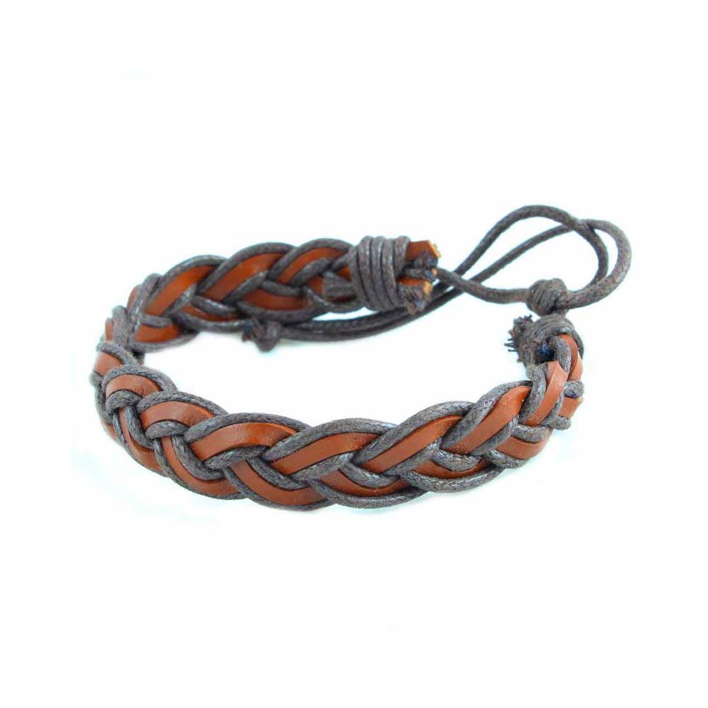 Wrist Band Leather Braid In Light And Dark Brown Color متجر 15 وأقل