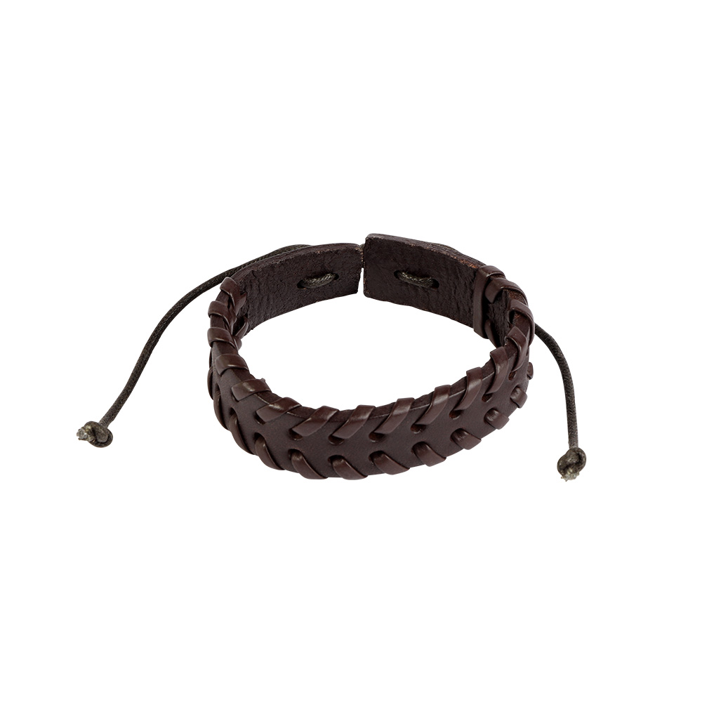 Leather Wrist Band In Dark Brown Color متجر 15 وأقل