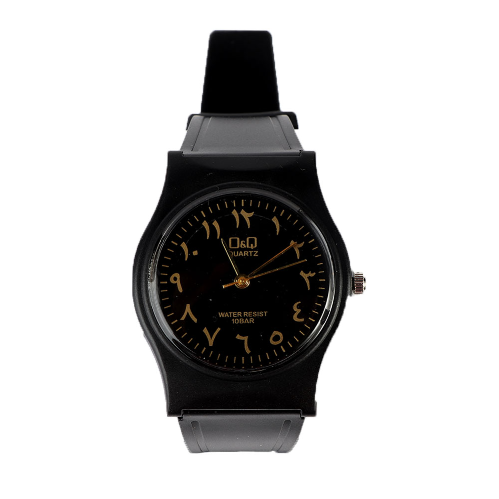 Casual wrist watch with black bracelet and face with Arabic numerals متجر 15 وأقل