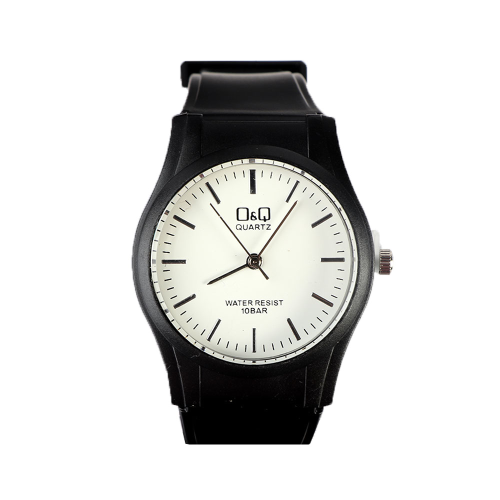 Casual Watch With Black Strap And Silver Tone Indices متجر 15 وأقل