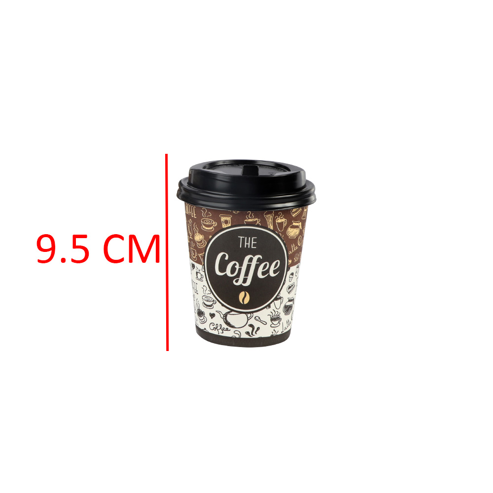 Paper Cups With Lid And Stir Stick 10-Pieces 8 oz متجر 15 وأقل