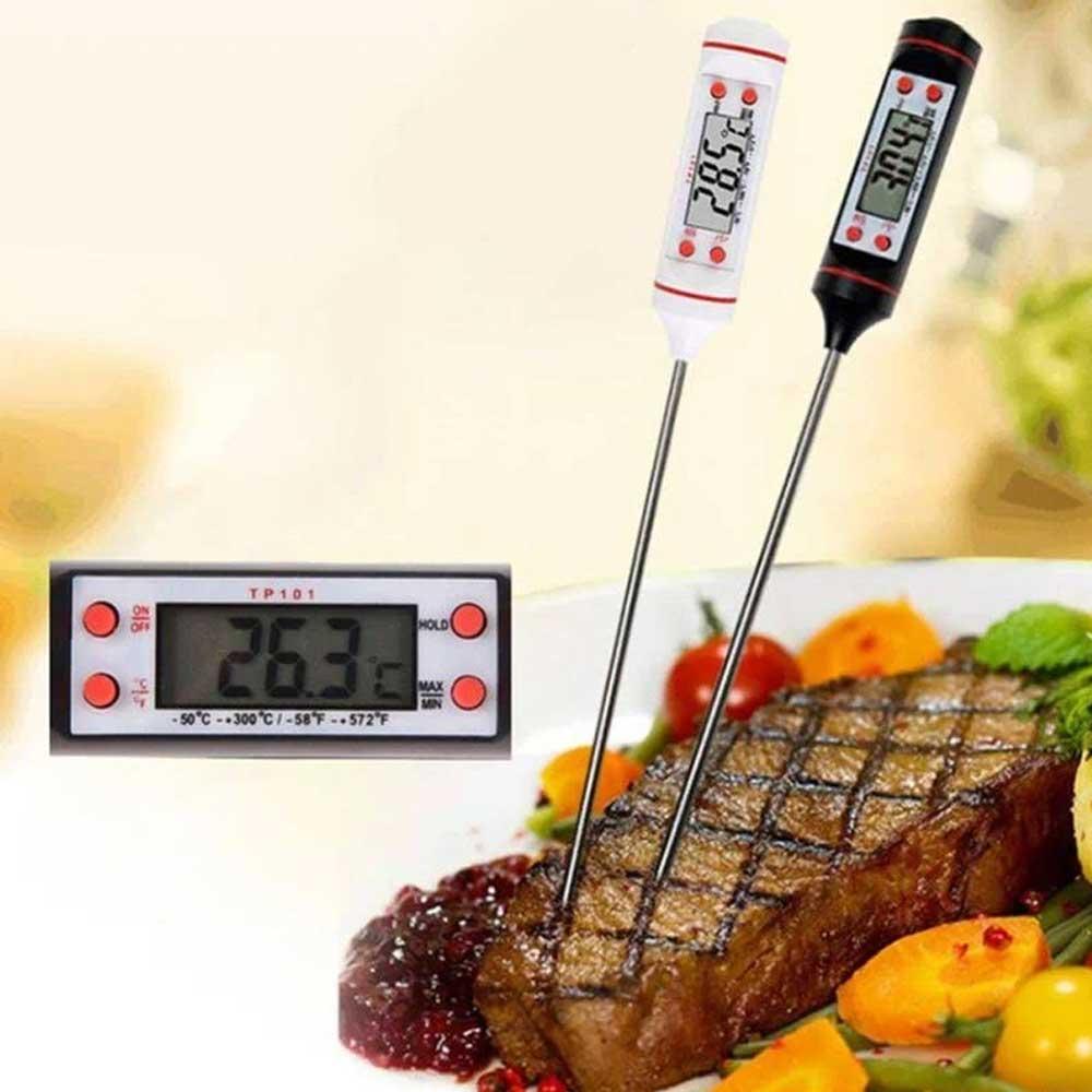 مقياس حرارة رقمي للطعام لون أبيض برتقالي. متجر 15 وأقل