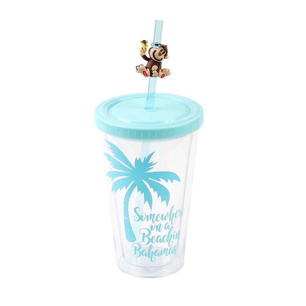 Transparent Plastic Cup With A Lock Cover And Glass Straws In Blue Color. متجر 15 وأقل