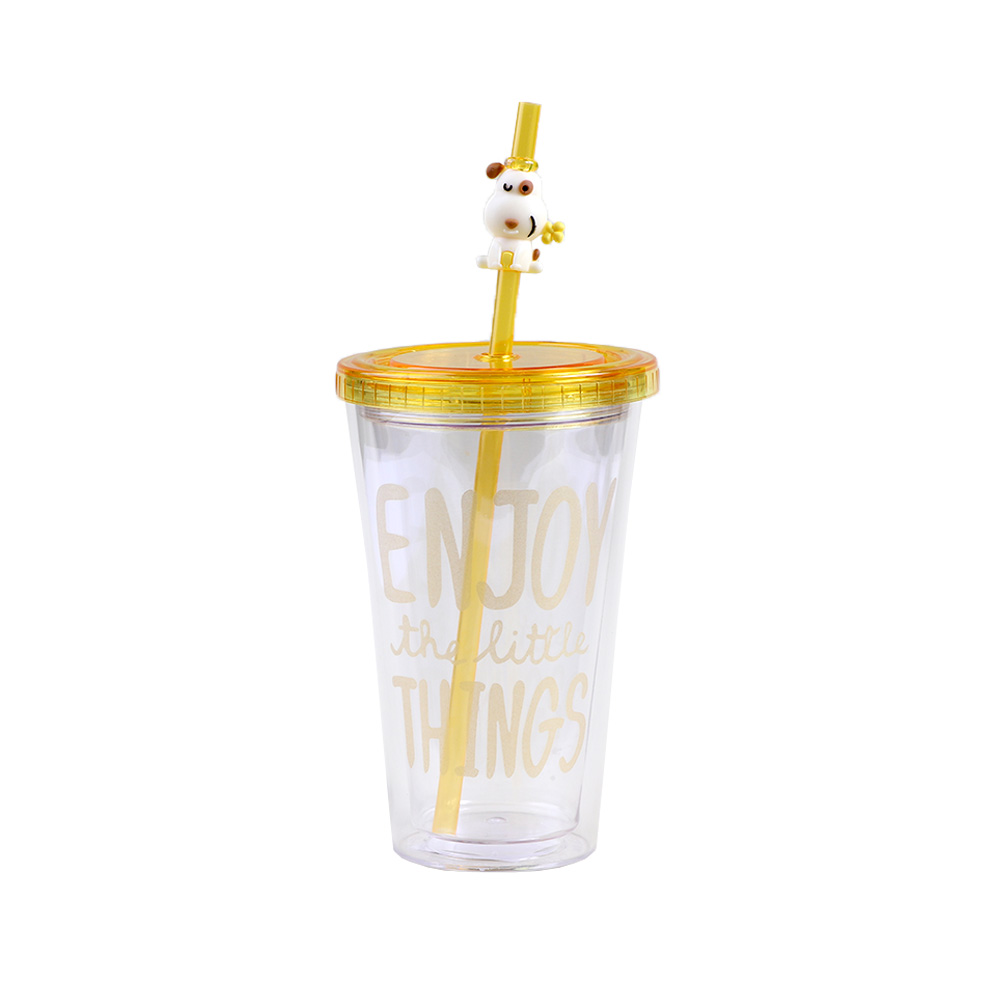 Transparent Plastic Cup With A Lock Cover And Glass Straws In Yellow Color. متجر 15 وأقل