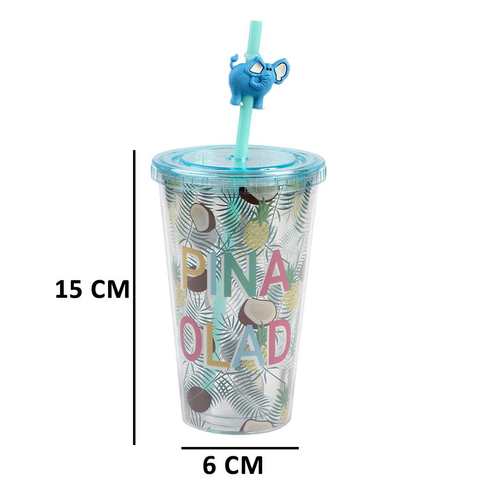 كاسة بلاستيك شفافة بغطاء للغلق مع مصاص بنقش فواكه متجر 15 وأقل