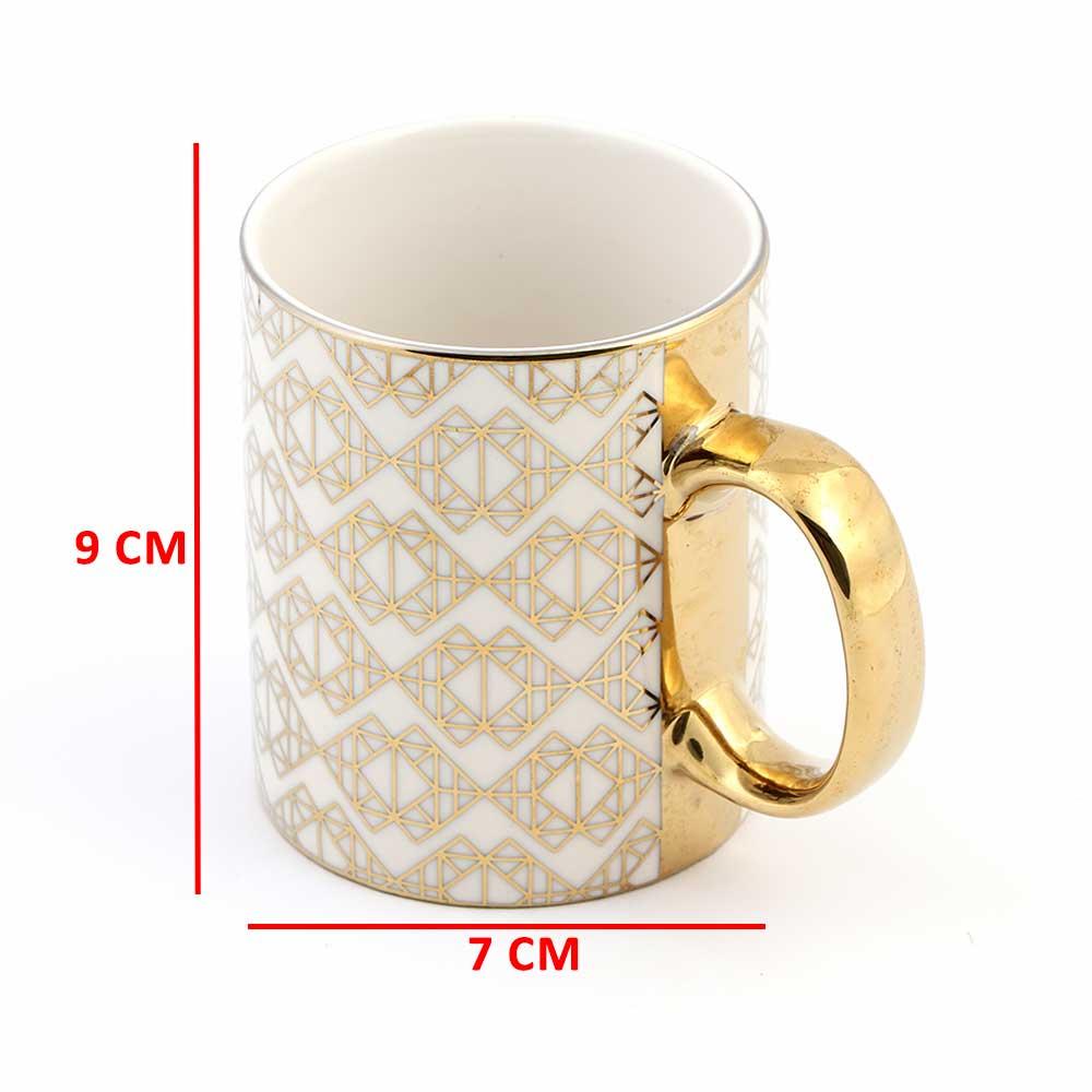 كوب زجاجي لون بيج بقبضة يد ذهبية بزخرفة هندسية جميلة موديل 2 متجر 15 وأقل