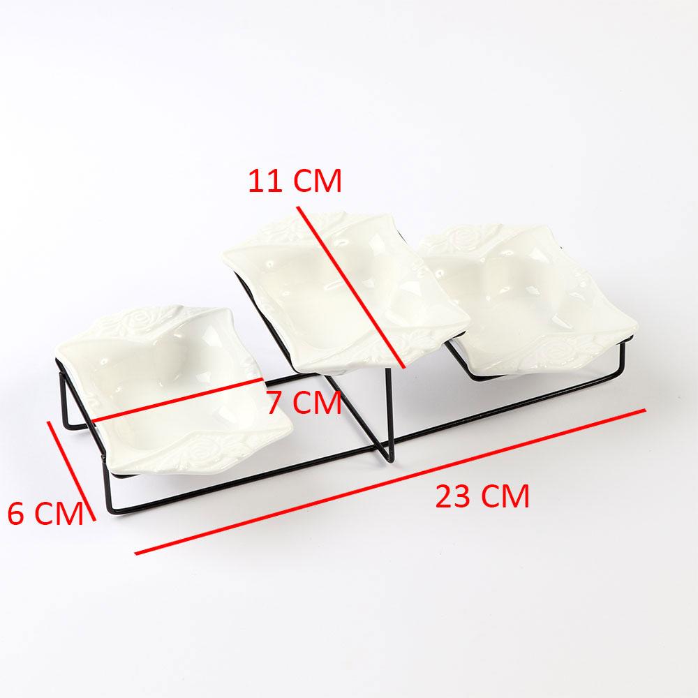 صحن سيراميك مستطيل الشكل مكون من ثلاث قطع مع ستاند حديدي متجر 15 وأقل