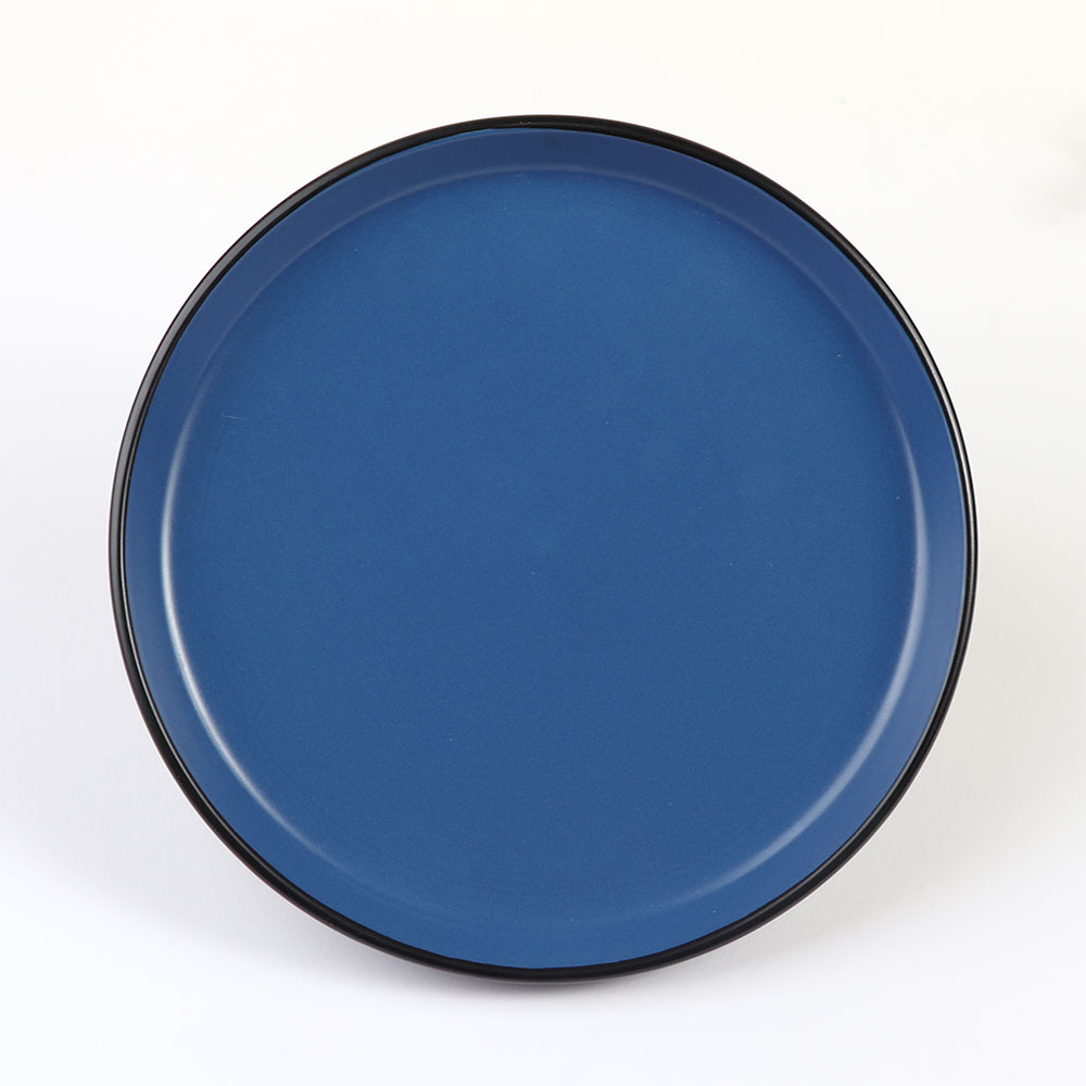 Medium Size Circular Ceramic Dish in Black and Blue from The Outside in a Modern متجر 15 وأقل