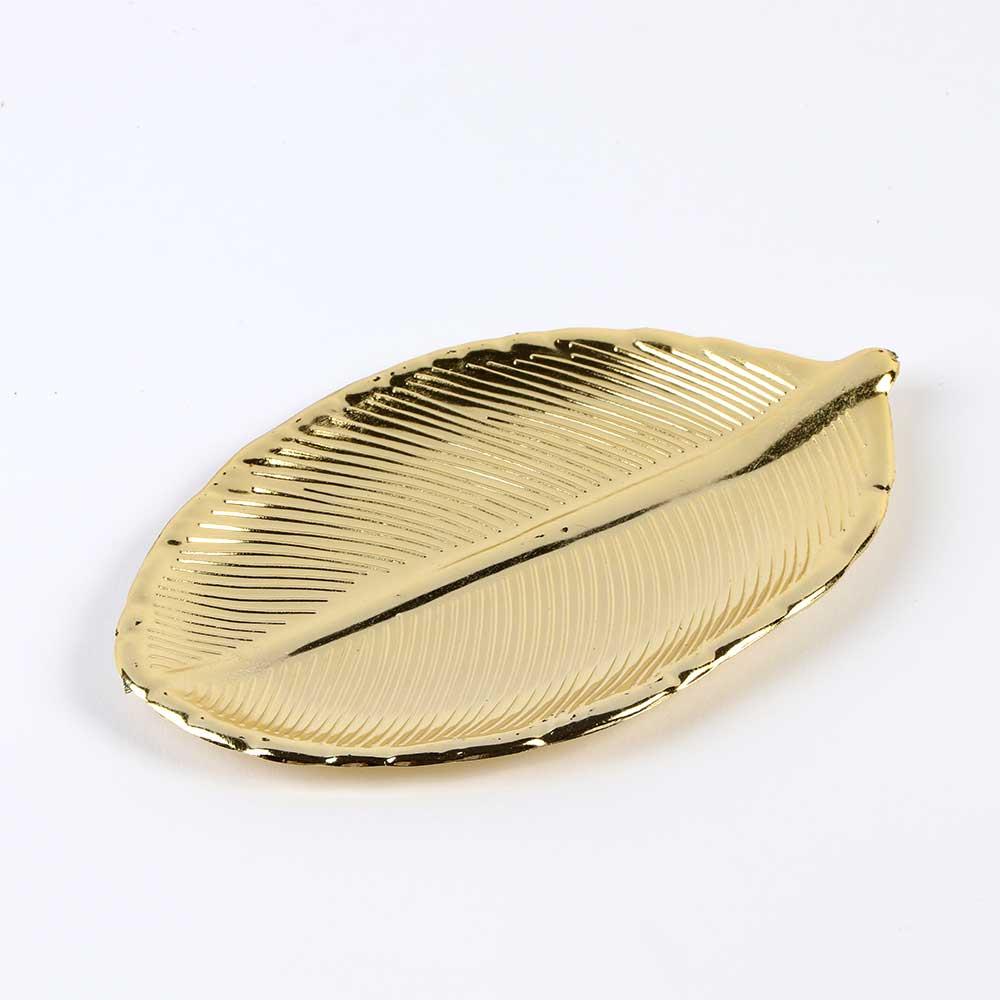 صحون بلاستيكية صغيرة الحجم للتوزيعات ولتقديم الحلى ذهبية اللون على شكل ورق شجر 12 قطعة متجر 15 وأقل