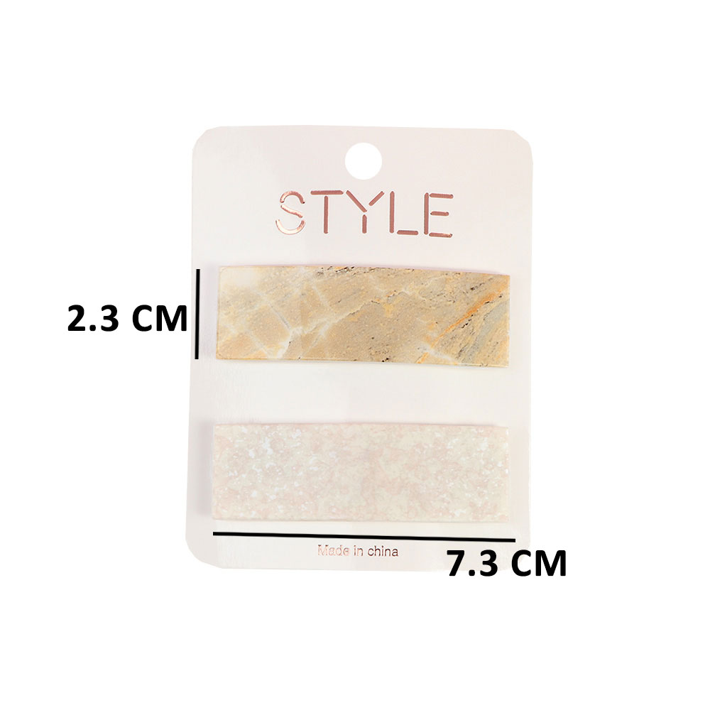 Two Pieces Of Elegant Marble Pattern Rectangular Hair Clips متجر 15 وأقل