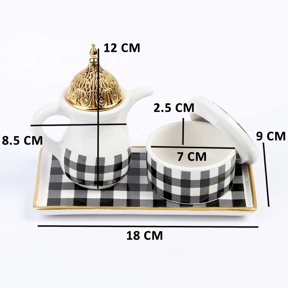 White Ceramic Incense Burner With Black Square Shape Decorated in Gold With an Incense Box متجر 15 وأقل