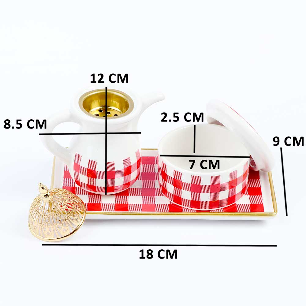 مبخرة سيراميك بيضاء بكاروهات حمراء مزخرفة باللون الذهبي مع علبة بخور متجر 15 وأقل
