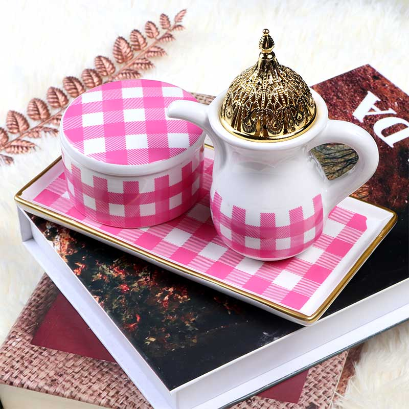 White Ceramic Incense Burner With Pink Square Shape Decorated in Gold With an Incense Box متجر 15 وأقل