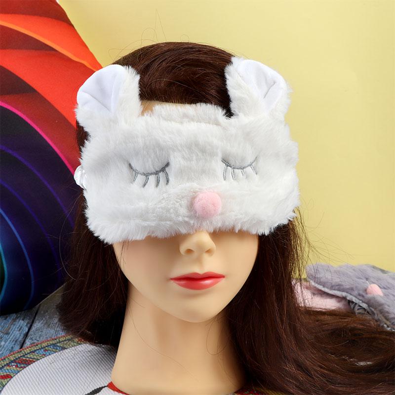غطاء للعين فرو برسمة قطة لون ابيض متجر 15 وأقل