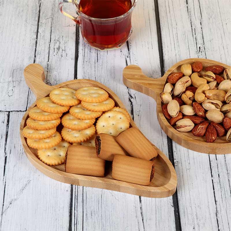 طبق تقديم مقبلات مصنوع من خشب البامبو على شكل جوافة متجر 15 وأقل