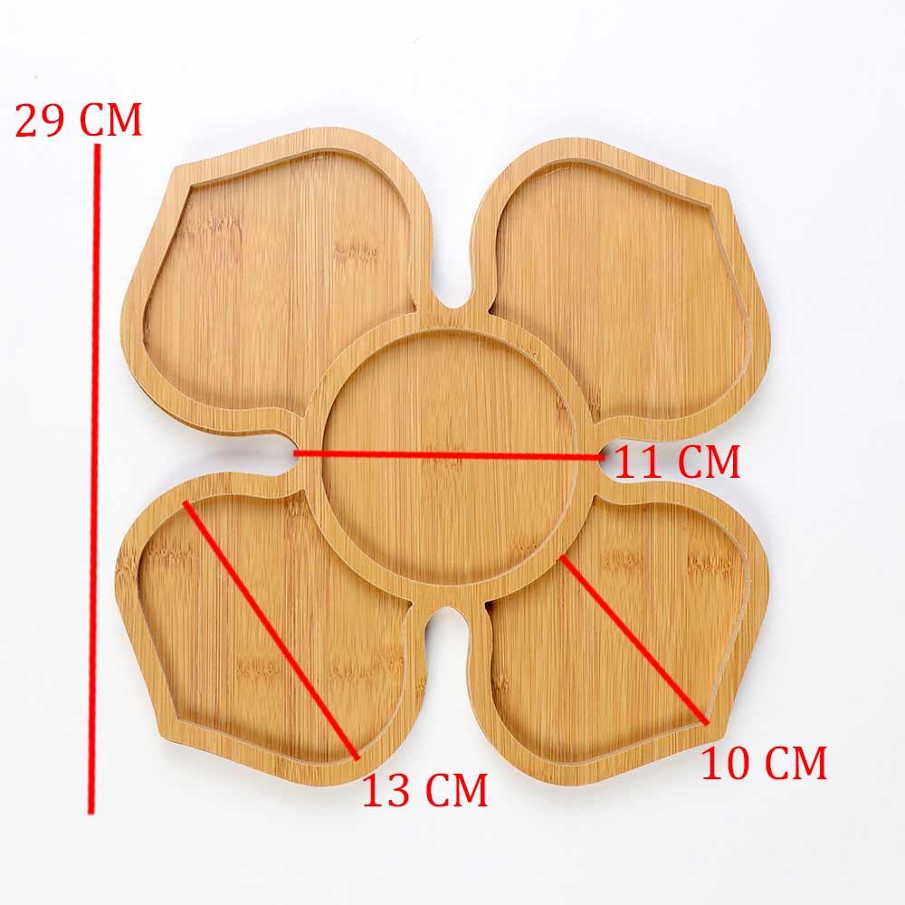 طبق تقديم مقبلات مقسم مصنوع من خشب البامبو على شكل وردة متجر 15 وأقل