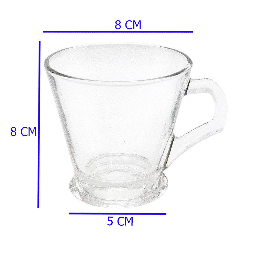 Set Of Five Cup 150 ml Transparent color Glass Bags For Tea and Hot Drinks متجر 15 وأقل