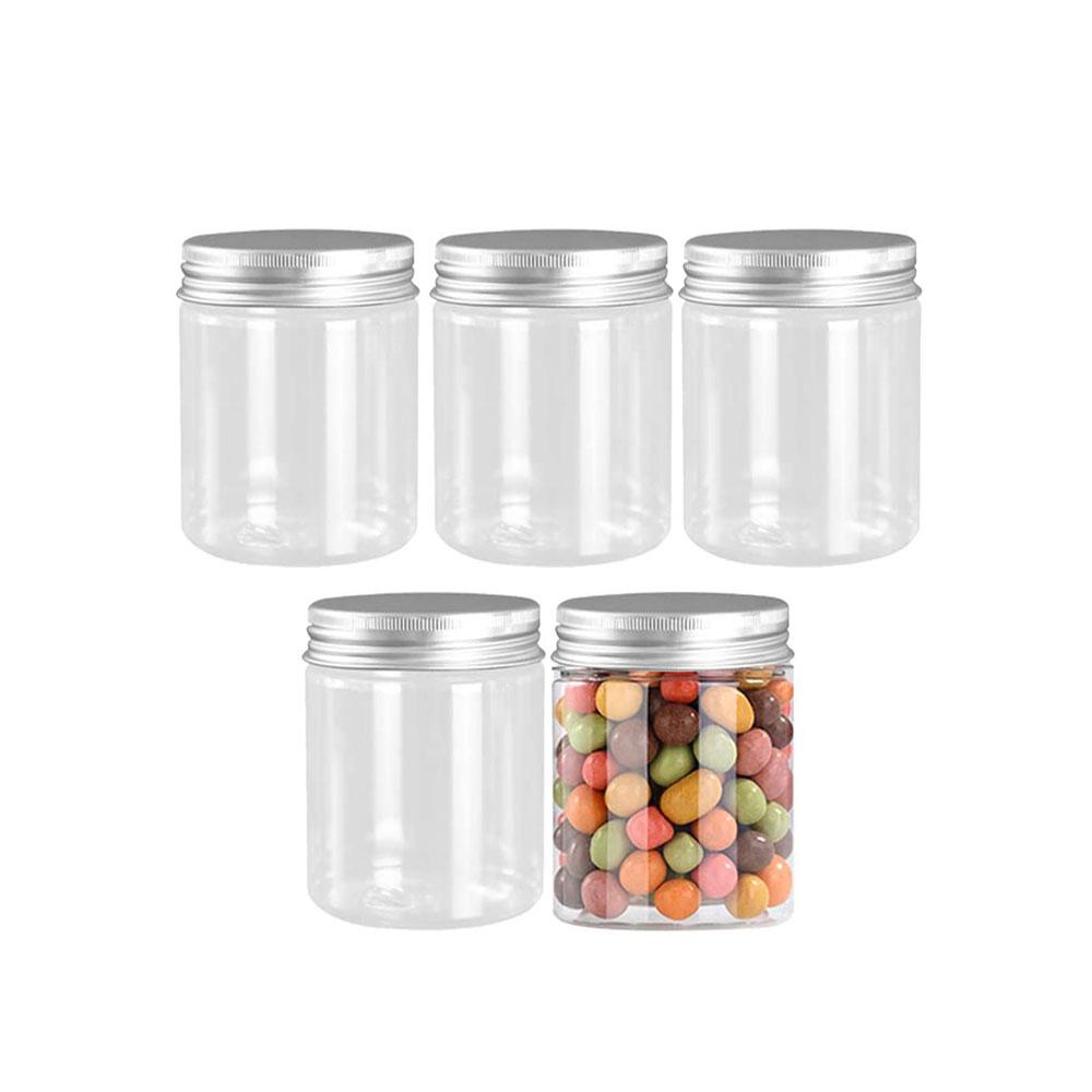 حافظات بلاستيكية وسط شفافة دائرية بغطاء فضي 5 قطع 220 ملم متجر 15 وأقل