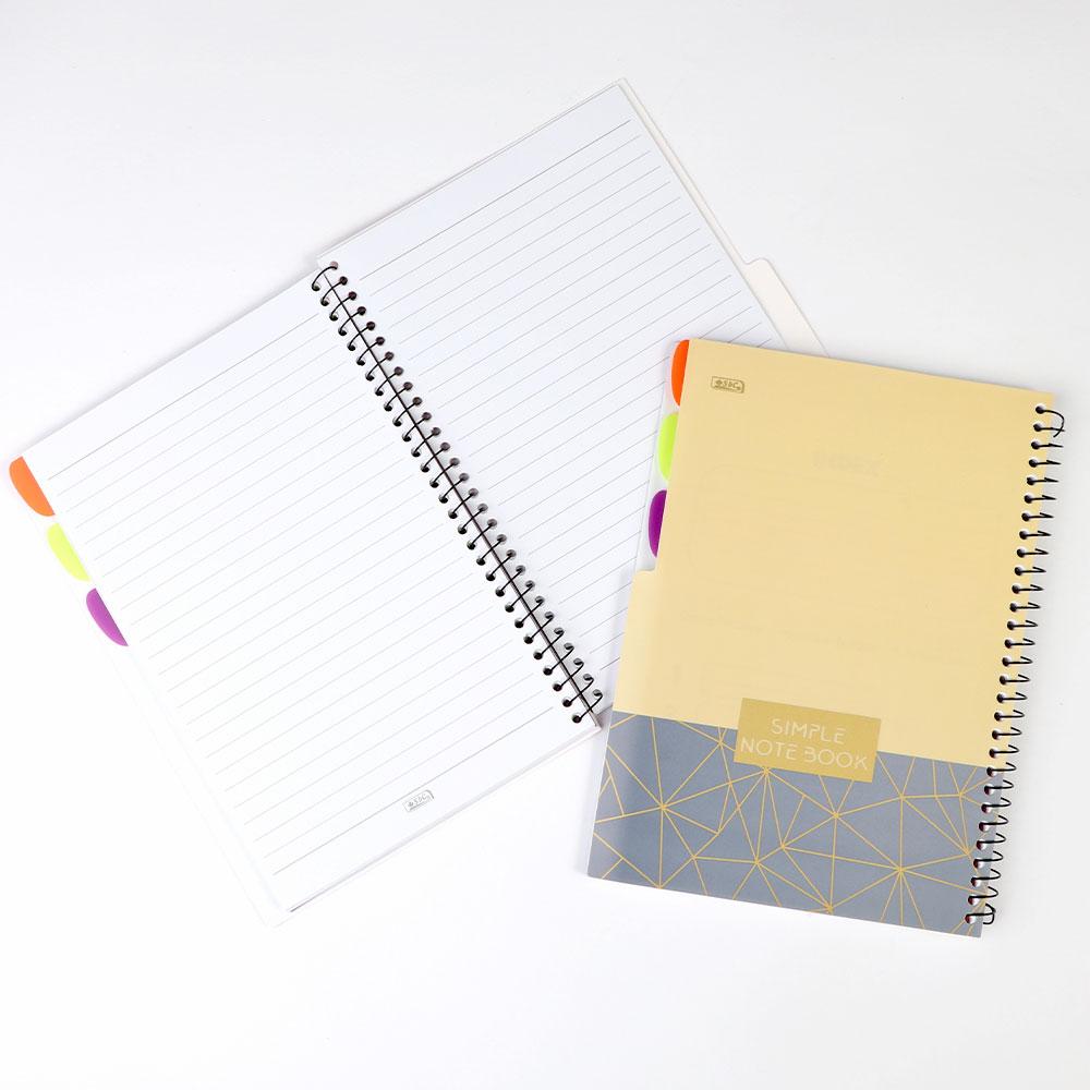 دفتر سلك جامعي ب3 فواصل مسطر 100 ورقة مقاس B5 أصفر مزخرف برمادي متجر 15 وأقل