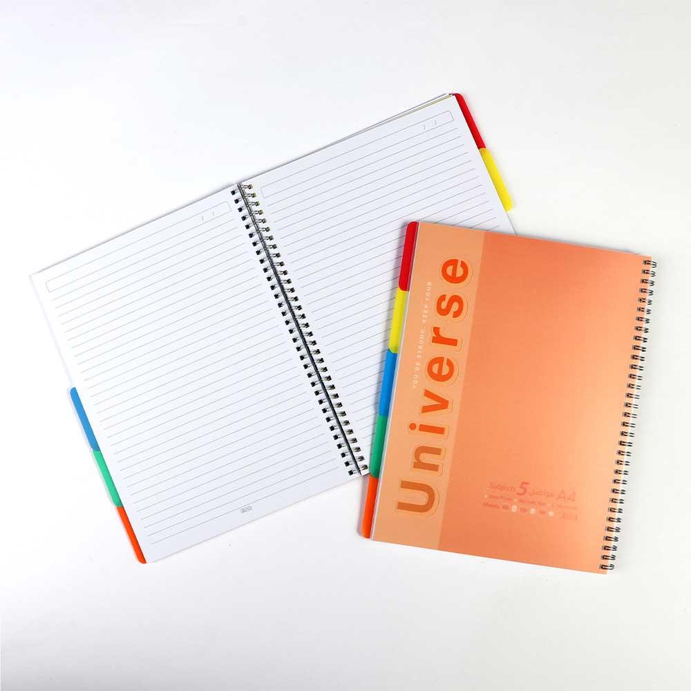 A4 دفتر سلك جامعي ب5 فواصل مسطر عربي 100ورقة كبير لون برتقالي متجر 15 وأقل