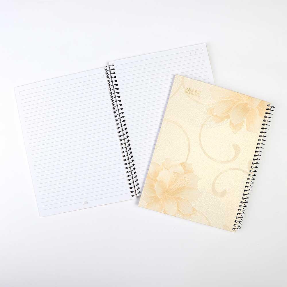 A4 دفتر سلك طبيعي مسطر 100 ورقة أصفر مزخرف بورود نسائي متجر 15 وأقل