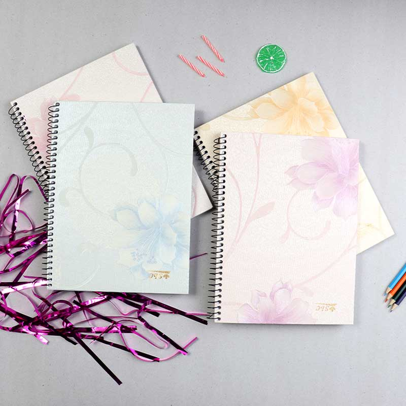 Natural Wire Notebook With 3 Breaks 100 Sheets A4 Blue Flowers For Women متجر 15 وأقل